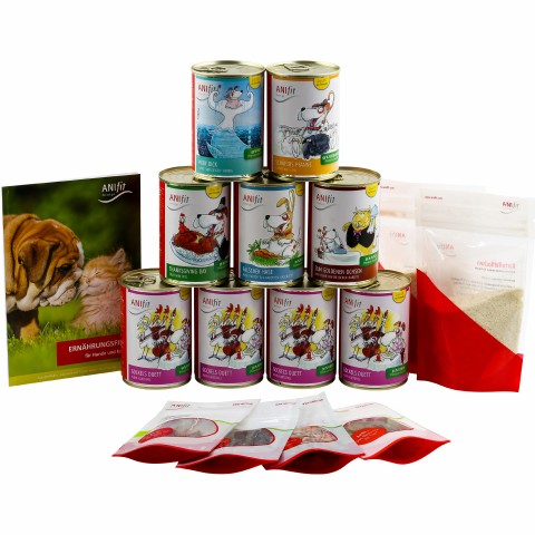 Dog Trial Package (Hunde-Schnupperpaket) 400g (1 Set with various varieties, flakes and trial packages)